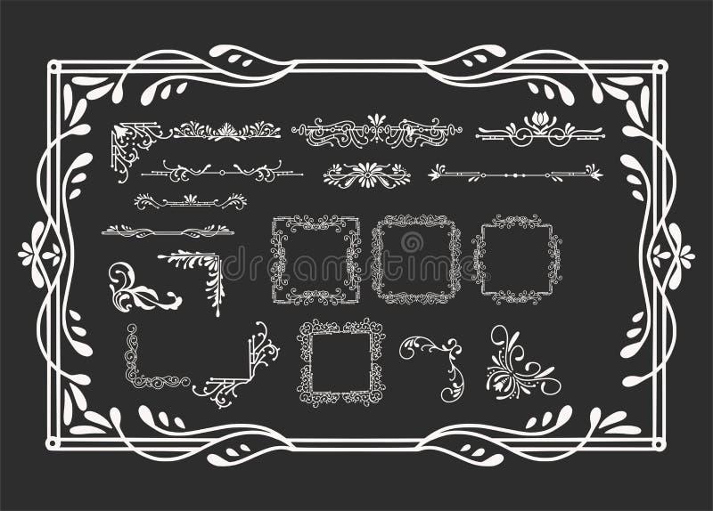 Sats av tappningbeståndsdelar för inbjudningar, baner, affischer, plakat, emblem eller logotyper vektor illustrationer
