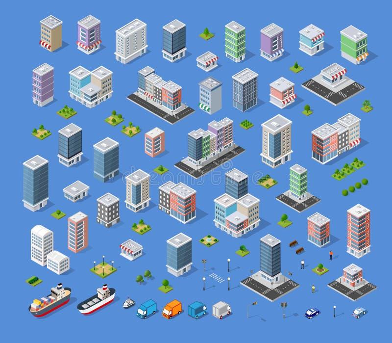 Sats för byggnadsstadsöversikt stock illustrationer
