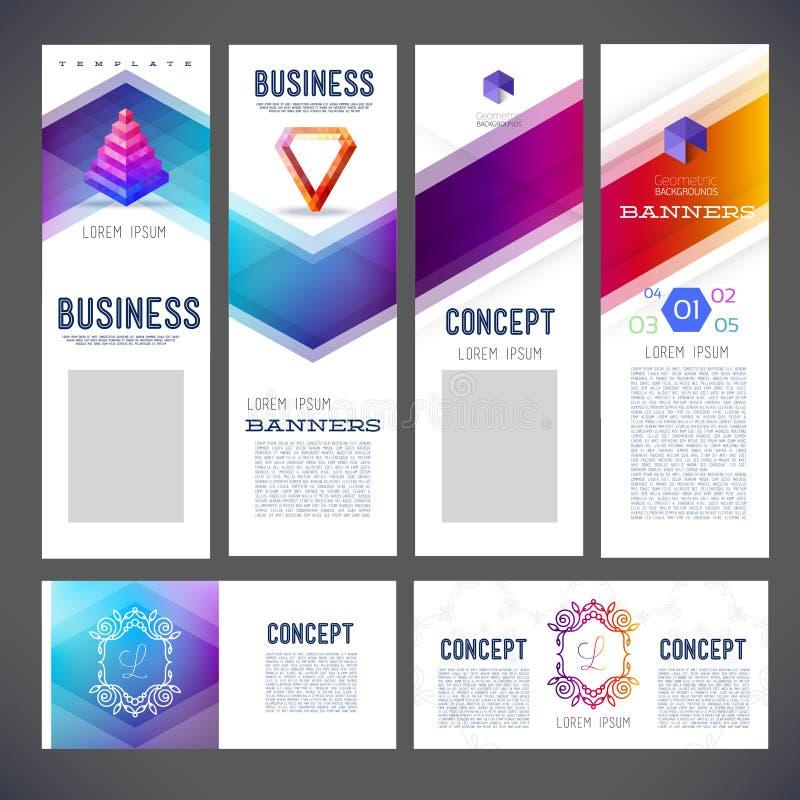 Sats för företags identitet eller affärssats med abstrakta bakgrunder stock illustrationer
