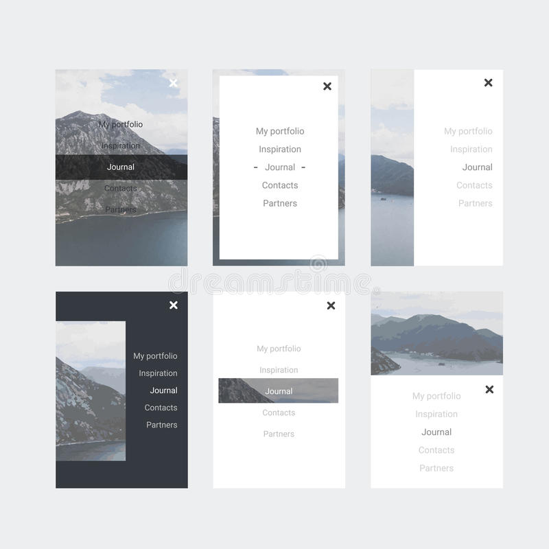Sats för Minimalistic hipster UI för att planlägga svars- websites, mobila apps & användargränssnittet Bergbakgrund stock illustrationer
