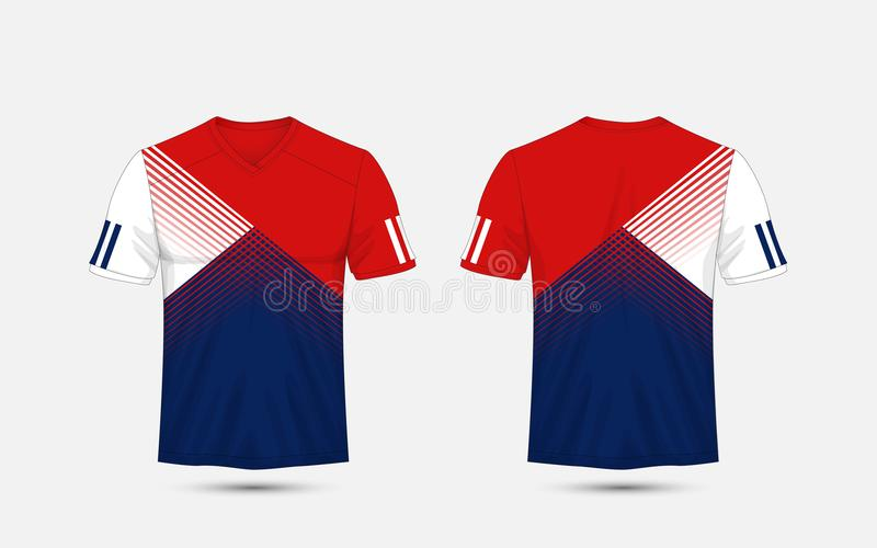 Satser för fotboll för sport för modell för för blått, vit och blå band, ärmlös tröja, t-skjorta designmall stock illustrationer