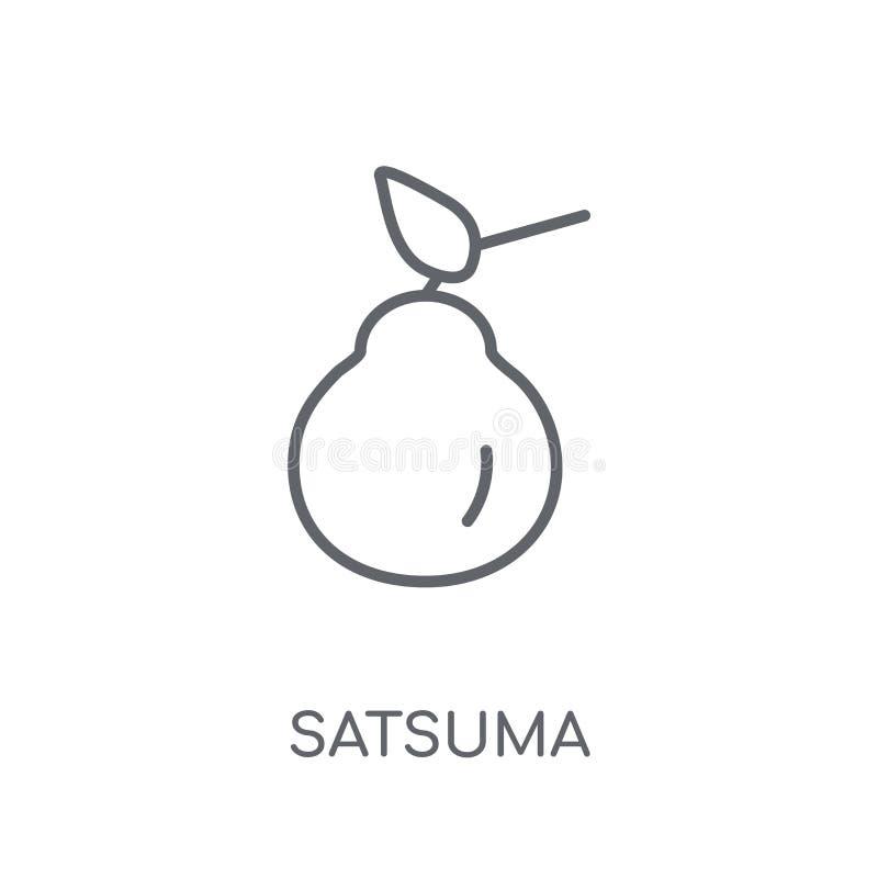 Satsuma-mandarijn lineair pictogram Modern het embleemconcept van de overzichtssatsuma-mandarijn op whit vector illustratie