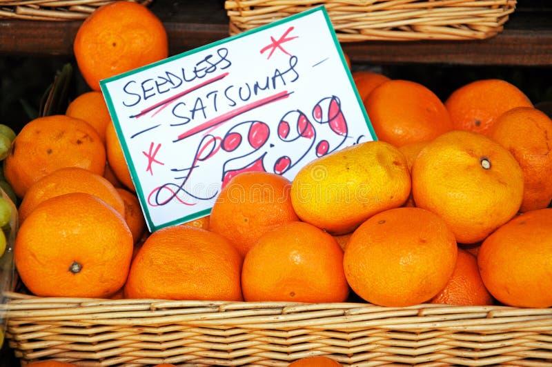 Satsumas aspermes à vendre images libres de droits