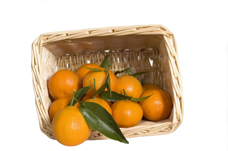 Download Satsumas In A Wicker Basket Stock Image - Image of clementine, basket: 5482785