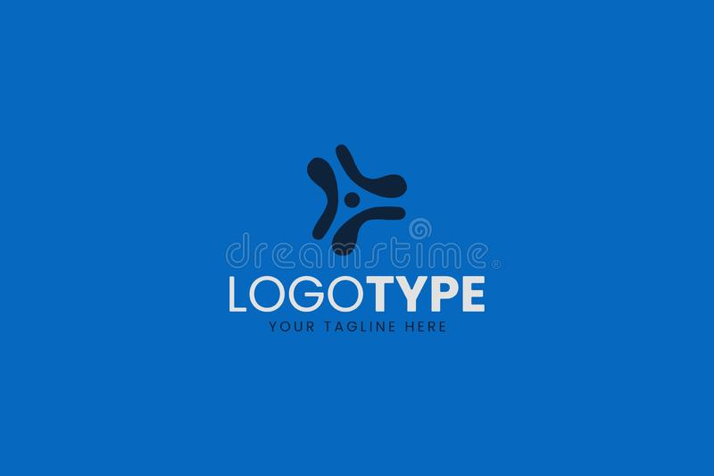 Satt en klocka på och stark blå teknologilogo för DEN företags- eller smartphoneapplikation stock illustrationer