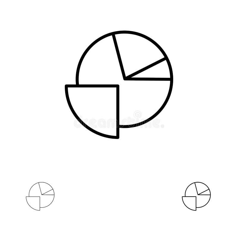 Satt en klocka på och tunn svart linje symbolsuppsättning för Analytics, för diagram, för paj, för graf royaltyfri illustrationer