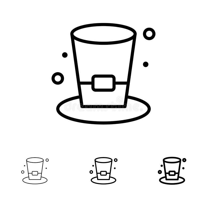 Satt en klocka på och tunn svart linje symbolsuppsättning för exponeringsglas, för drink, för vin, för öl stock illustrationer