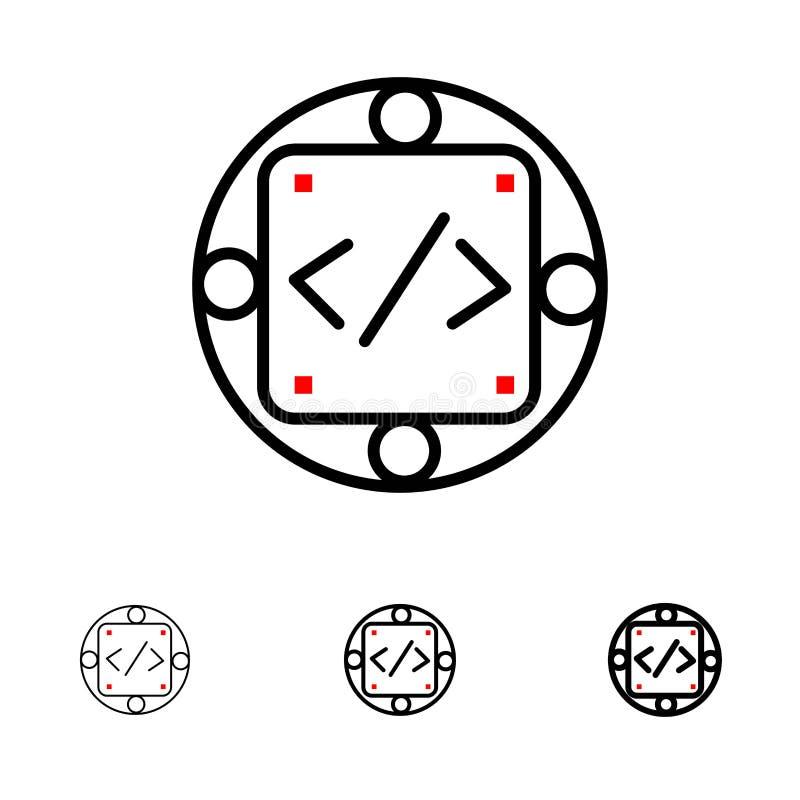 Satt en klocka på och tunn svart linje symbolsuppsättning för kod, för egen, för genomförande, för ledning, för produkt royaltyfri illustrationer