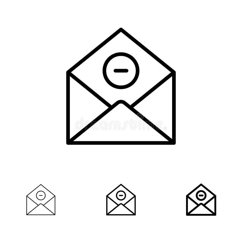 Satt en klocka på och tunn svart linje symbolsuppsättning för kommunikation, för borttagnings, Borttagnings-post, för Email vektor illustrationer