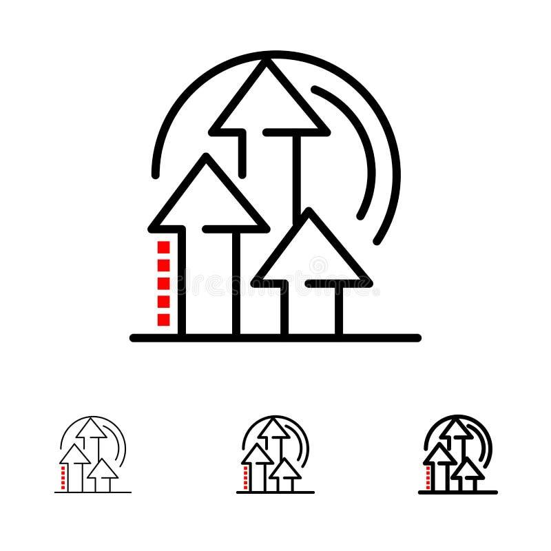 Satt en klocka på och tunn svart linje symbolsuppsättning för ledning, för metod, för kapacitet, för produkt stock illustrationer