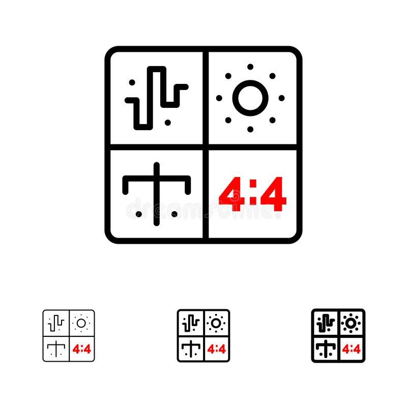 Satt en klocka på och tunn svart linje symbolsuppsättning för ljudsignal, för design, för utveckling, för teknik, för process vektor illustrationer