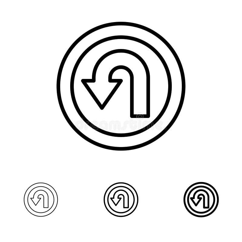 Satt en klocka på och tunn svart linje symbolsuppsättning för pil, för baksida, för navigering, för väg stock illustrationer