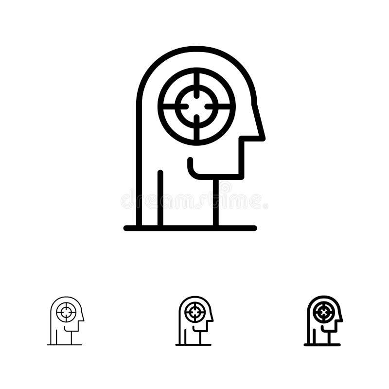 Satt en klocka på och tunn svart linje symbolsuppsättning för pil, för koncentration, för fokus, för huvud, för människa stock illustrationer