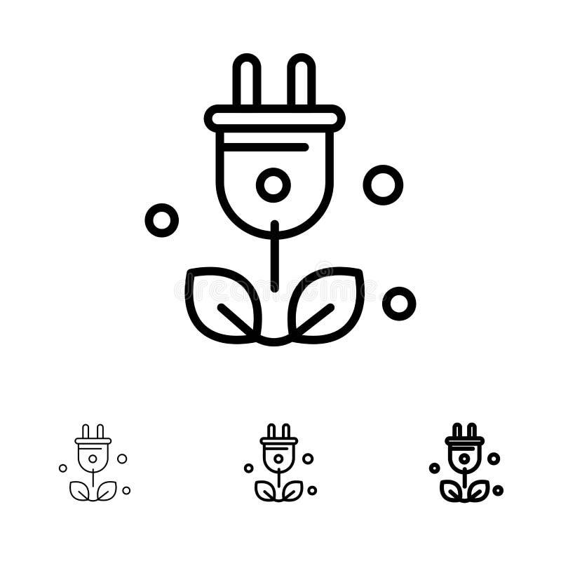 Satt en klocka på och tunn svart linje symbolsuppsättning för propp, för träd, för gräsplan, för vetenskap stock illustrationer