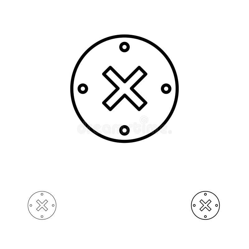 Satt en klocka på och tunn svart linje symbolsuppsättning för slut, för kors, för borttagnings, för annullering vektor illustrationer