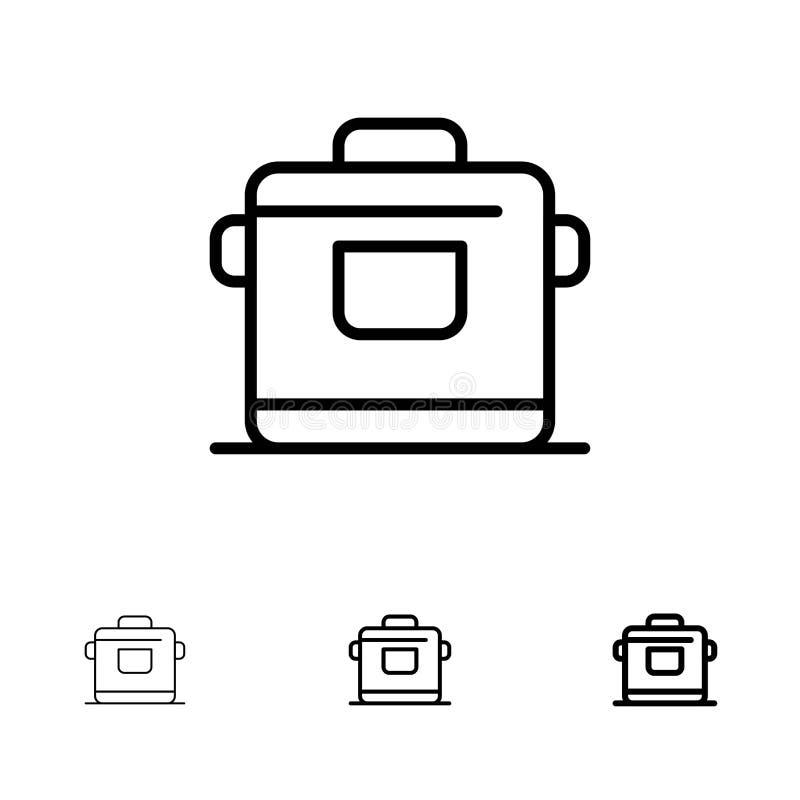 Satt en klocka på och tunn svart linje symbolsuppsättning för spis, för kök, för ris, för hotell stock illustrationer