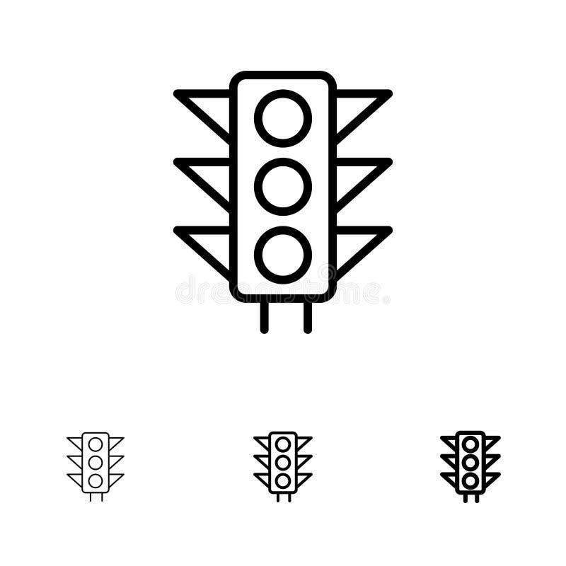 Satt en klocka på och tunn svart linje symbolsuppsättning för trafik, för tecken, för ljus, för väg royaltyfri illustrationer