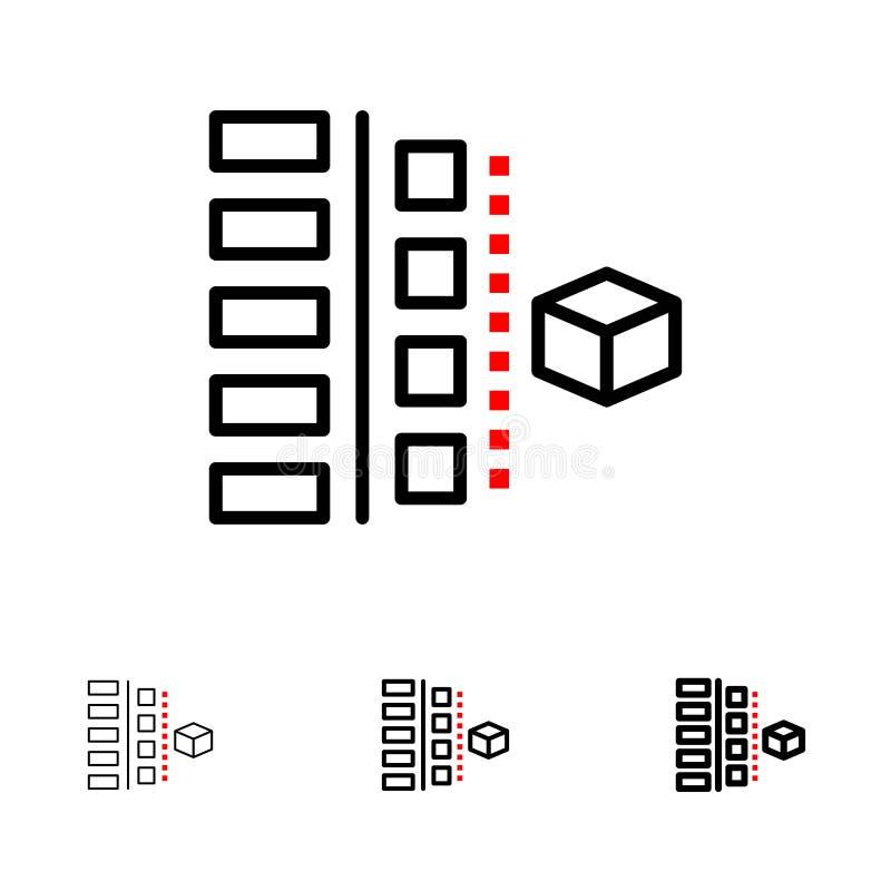 Satt en klocka på och tunn svart linje symbolsuppsättning för utveckling, för faser, för plan, för planläggning, för produkt royaltyfri illustrationer