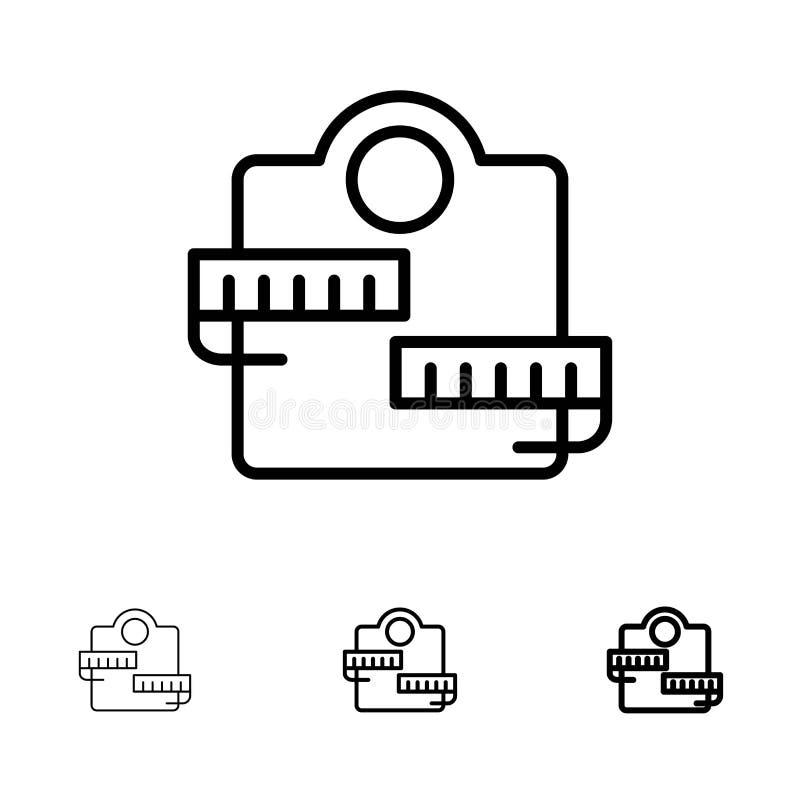 Satt en klocka på och tunn svart linje symbolsuppsättning för vikt, för maskin, för sjukvård, för sport vektor illustrationer