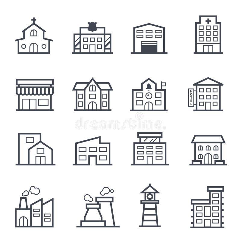 Satt en klocka på slaglängd för byggnad symbol stock illustrationer