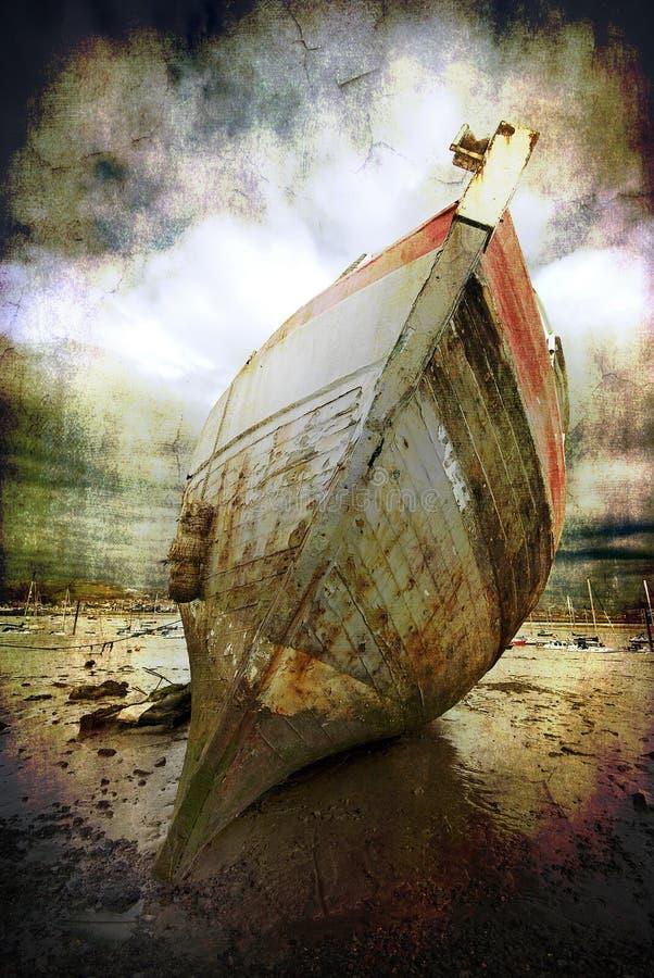 satt på land fartyg arkivfoto