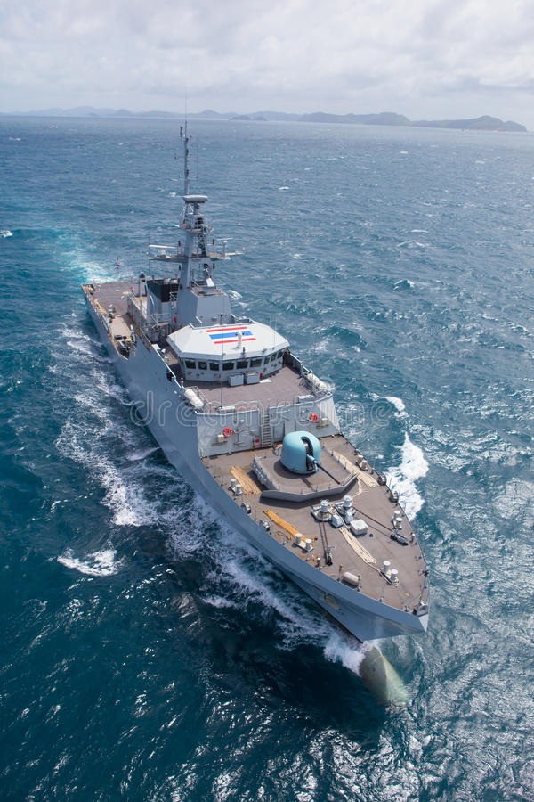 Free SATTAHEEP, THAILAND - June 21: H.T.M.S. Krabi, An Offshore Patrol Vessel Of The Royal Thai Navy Test Control System And Speed Stock Photo - 33601310