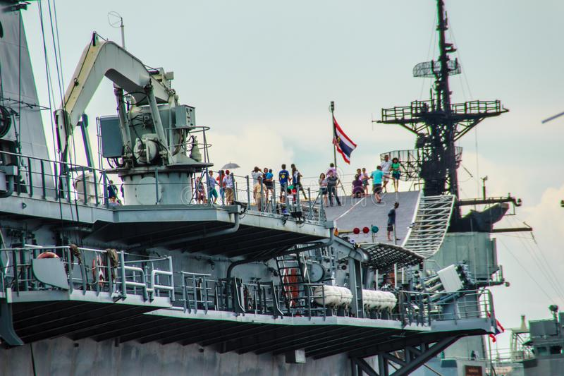 Sattahip, Chonburi, Thailand - May 3, 2015: HTMS Chakri Naruebet aircraft carrier was shown for Thai people and tourist to visit. At Sattahip Naval Base royalty free stock photography