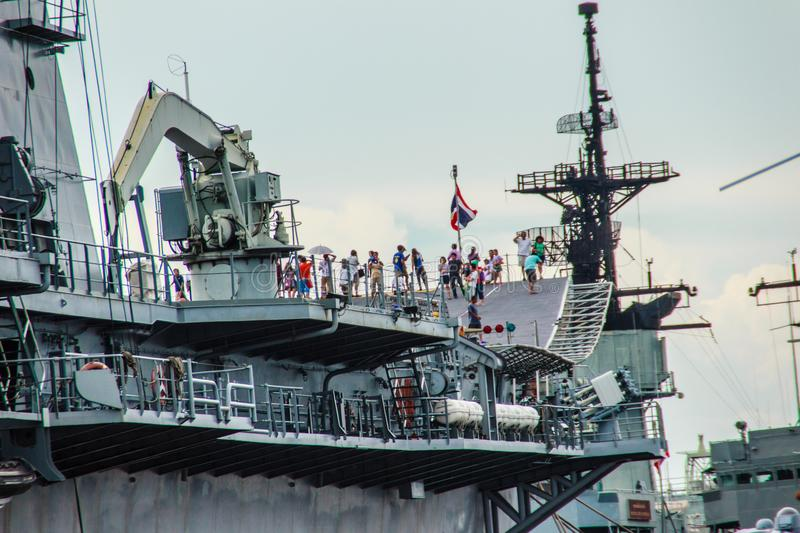 Sattahip, Chonburi, Thailand - May 3, 2015: HTMS Chakri Naruebet aircraft carrier was shown for Thai people and tourist to visit. At Sattahip Naval Base stock photography