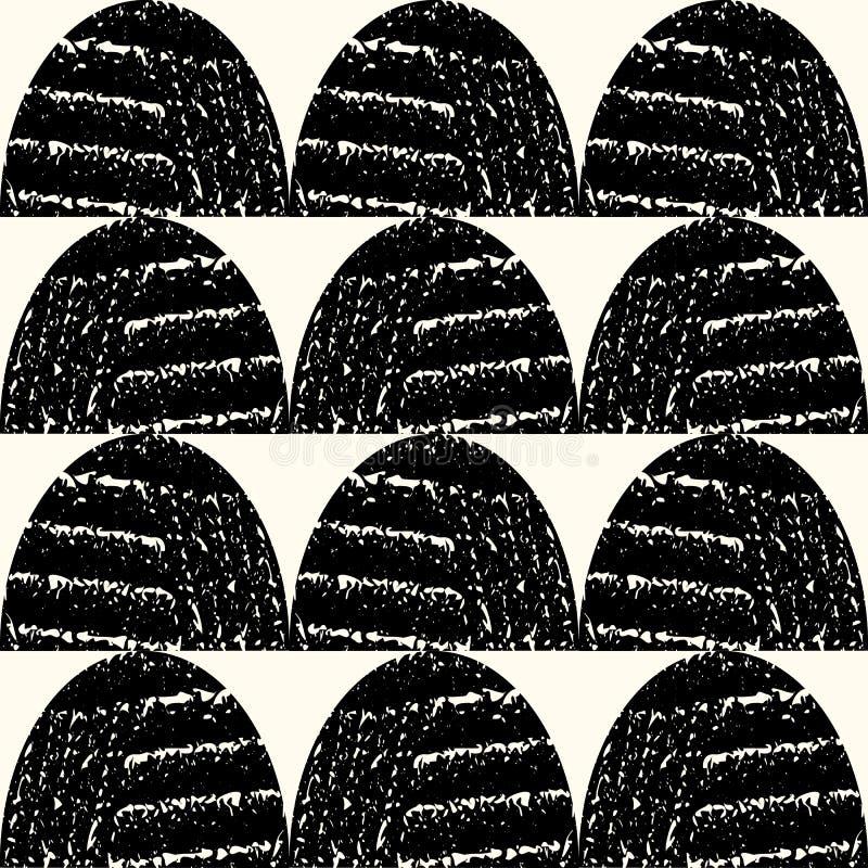 Satte en klocka på moderna svartvita texturerade halvcirklar i geometrisk raddesign Sömlös modell för vektor i den utskrivavna ha vektor illustrationer
