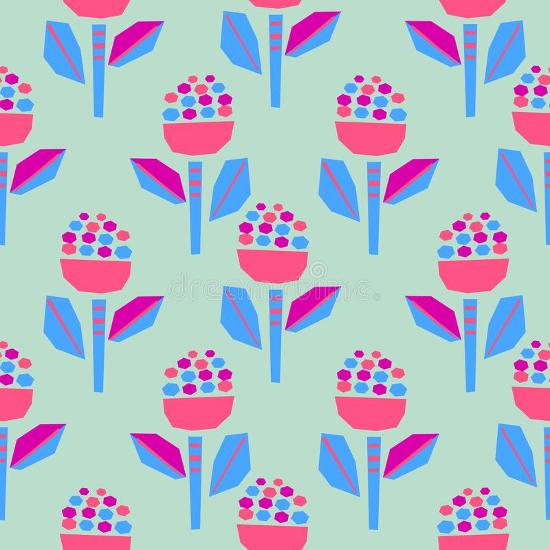 Satte en klocka på pappers- blommor för utklipp den ljusa sömlösa modellen royaltyfri illustrationer