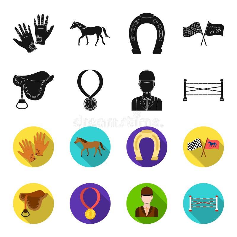 Sattel, Medaille, Meister, Sieger Gesetzte Sammlungsikonen des Hippodroms und des Pferds im Schwarzen, flet Artvektor-Symbolvorra lizenzfreie abbildung
