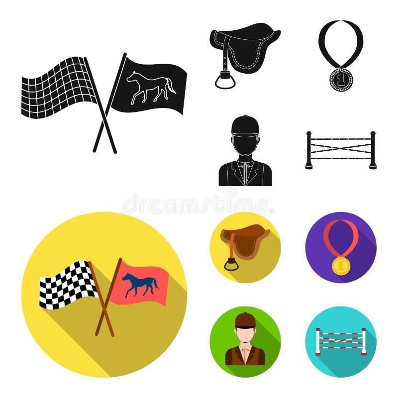 Sattel, Medaille, Meister, Sieger Gesetzte Sammlungsikonen des Hippodroms und des Pferds schwarzes, flaches Artvektorsymbolauf la stock abbildung