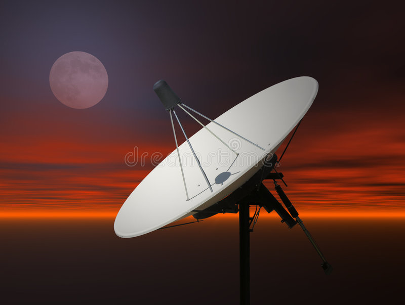 Sattelite Dish. A photo of a satellite dish against a rendered sky royalty free stock photo