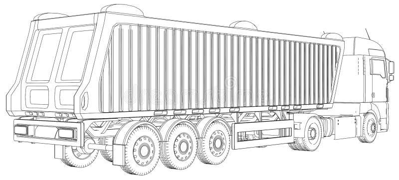 Sattelschlepperkipplasterskizze lokalisiert auf weißem Hintergrund LKW des Anhängers 3-axle Spurillustration von 3d ENV 10 stock abbildung