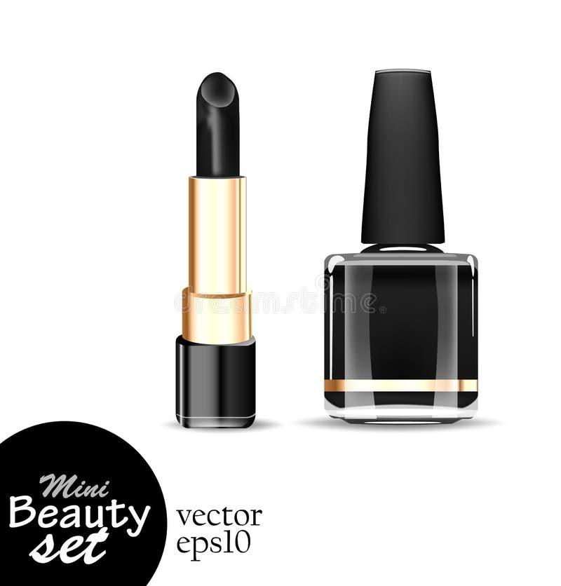 Saturan un lápiz labial negro del tubo y a un esmaltes de uñas negros de la botella aislaron en un fondo blanco foto de archivo