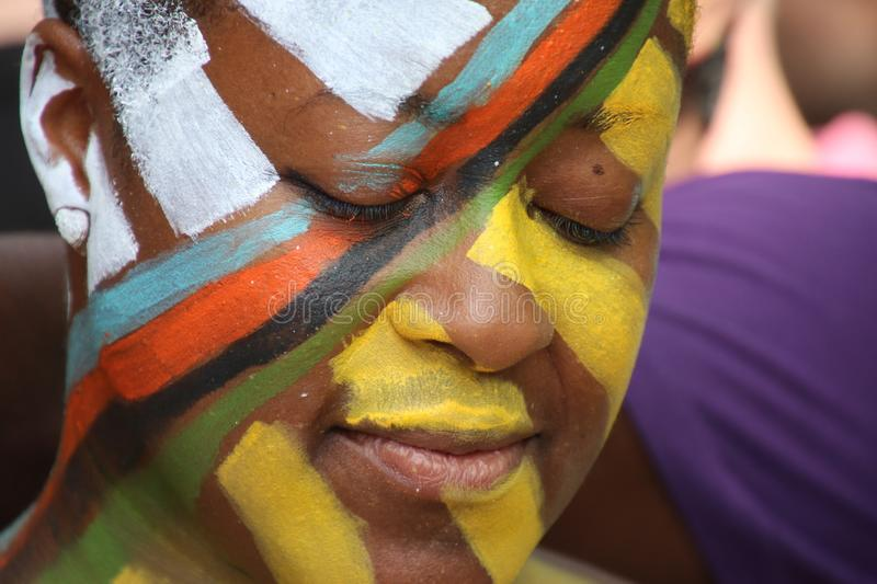 2018 NYC Annual Body-painting Day. On Saturday, July 14, 50 artists painted 50 fully nude models of all shapes and sizes in Washington Square Park in Manhattan stock images