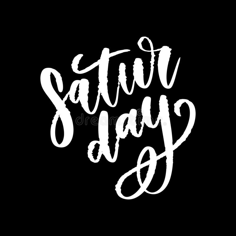 Saturday logo template vector lettering calligraphy text. Saturday logo template vector lettering calligraphy, design, graphic, word, font, illustration, text stock illustration