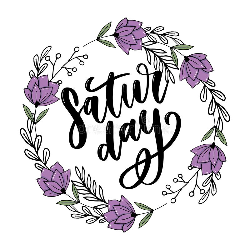 Saturday logo template vector lettering calligraphy text. Saturday logo template vector lettering calligraphy, design, graphic, word, font, illustration, text vector illustration