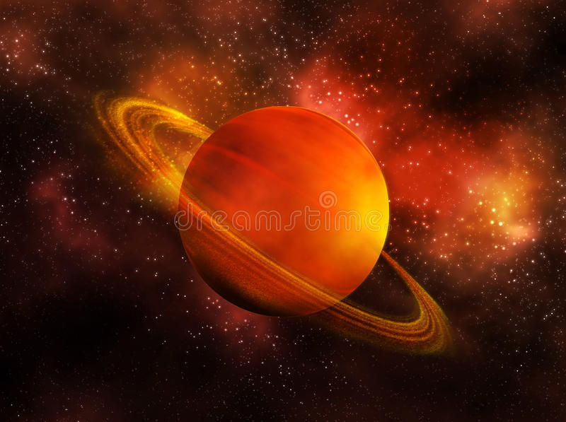 Saturn. The planet Saturn in space vector illustration
