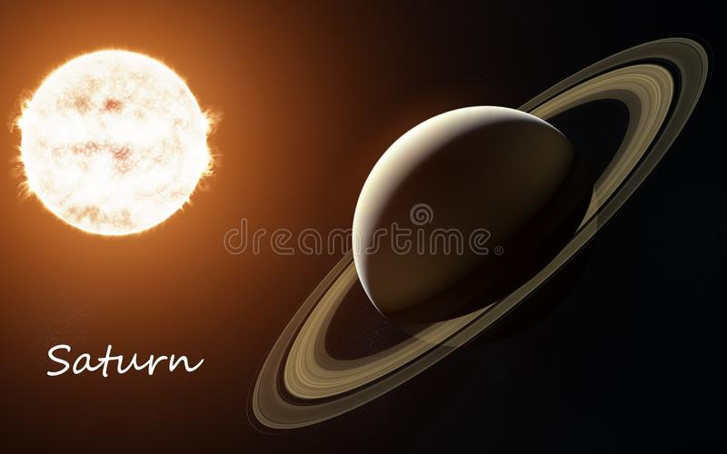 Saturn against background of Sun. Solar system. Abstract science fiction. Elements of the image are furnished by NASA. Saturn against background of Sun. Solar stock photography