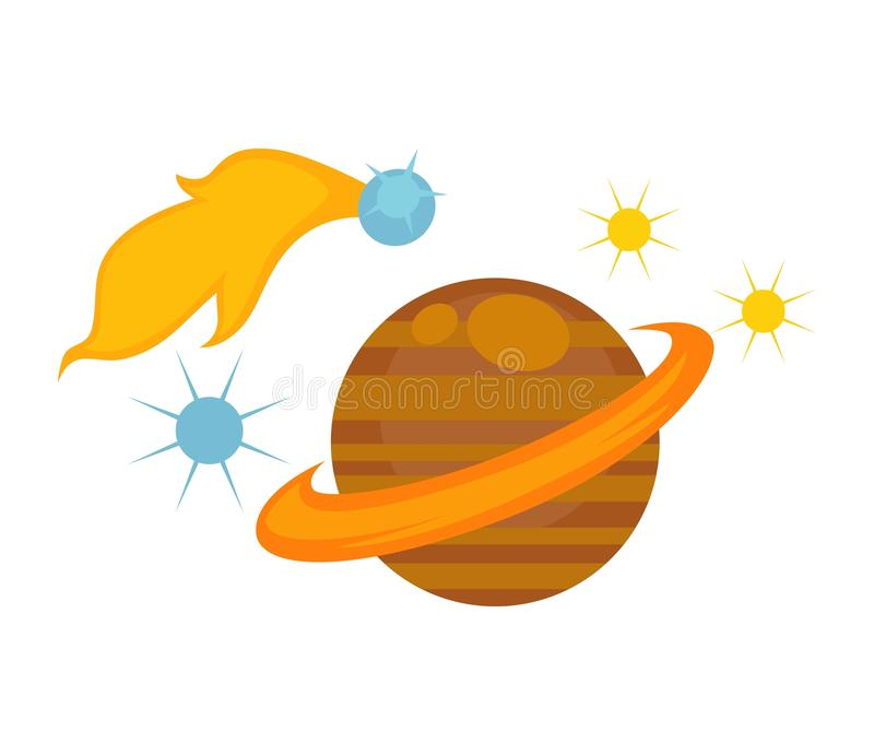 Saturn with big belt surrounded with stars and meteor. That flies and leaves flame trace isolated cartoon flat vector illustrations set on white background stock illustration