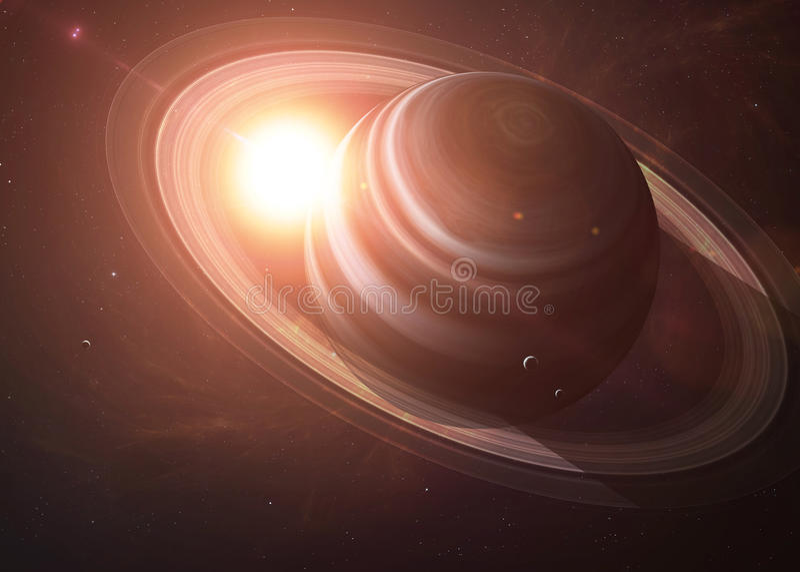 Saturn com as luas do espaço que mostra a tudo os ilustração royalty free