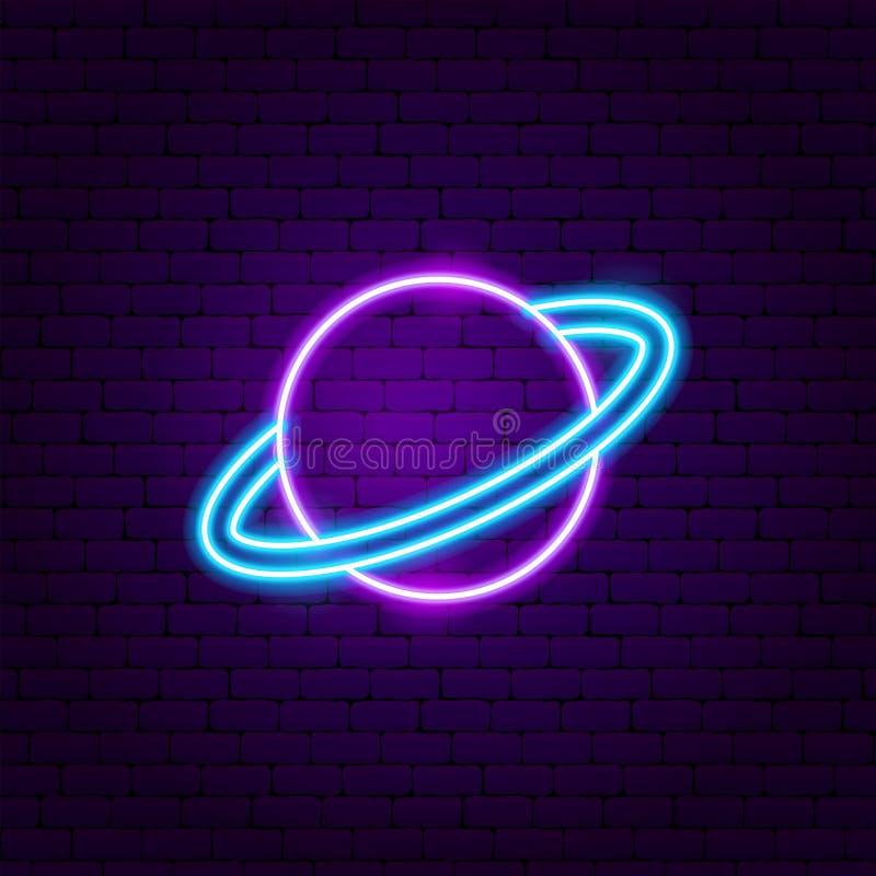 Saturn-het Etiket van het Planeetneon royalty-vrije illustratie