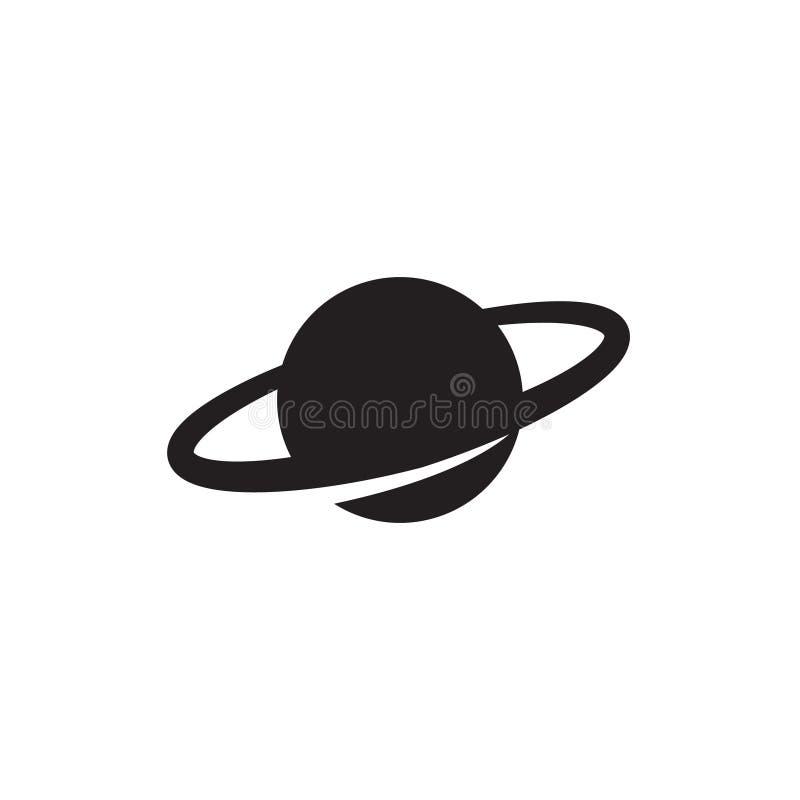 Saturn ikona w mieszkanie stylu Planety wektorowa ilustracja na bia?ym odosobnionym tle ilustracja wektor