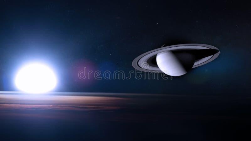 Saturn im Weltraum stockfotografie
