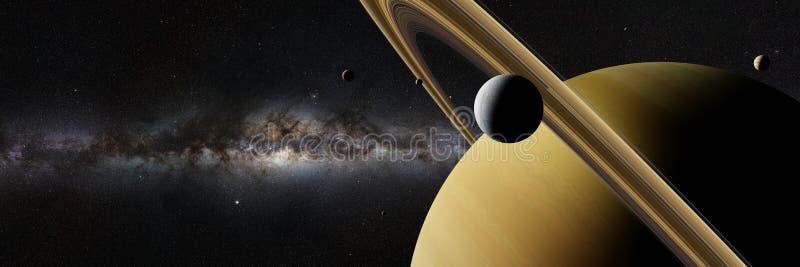 Saturn-maan Enceladus voor planeet Saturn, ringen, andere manen en banner van de Melkwegmelkweg royalty-vrije illustratie