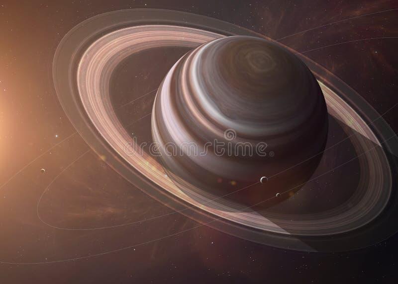 Saturn met manen van het ruimte alle tonen zij royalty-vrije stock afbeeldingen