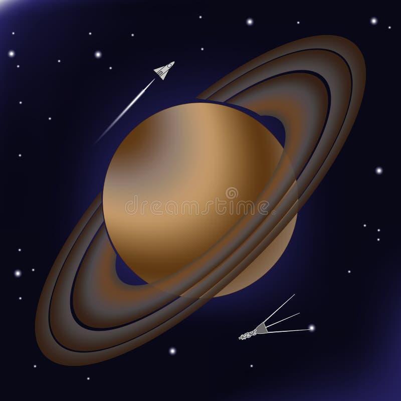 Saturn met zijn orbitale ringen van asteroïden stock illustratie