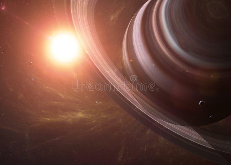 Saturn mit Monden vom Raum, der allen sie zeigt stockfotografie
