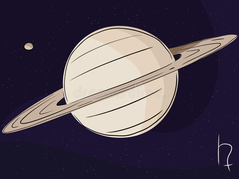 Saturn with Moon Titan. Planet Saturn with the moon Titan in outer space royalty free illustration